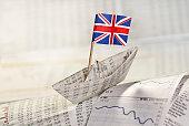 Papierschiff mit britischer Flagge auf Zeitungsseiten mit Kurstabellen.