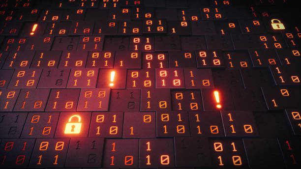 Symbolic Data Structure With Warnings A close up on an artificial structure made out of cubes with glowing binary numbers, padlocks and exclamation marks.   computer crime stock pictures, royalty-free photos & images