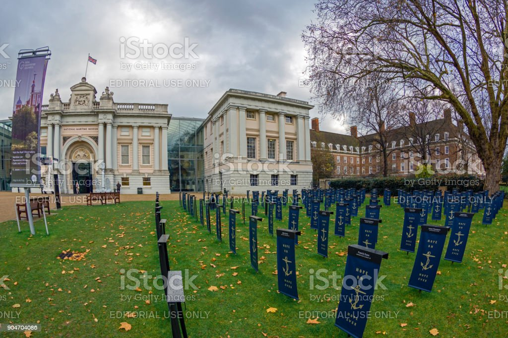 Symbolic graveyard with flags in front of the Maritime Museum, London stock photo