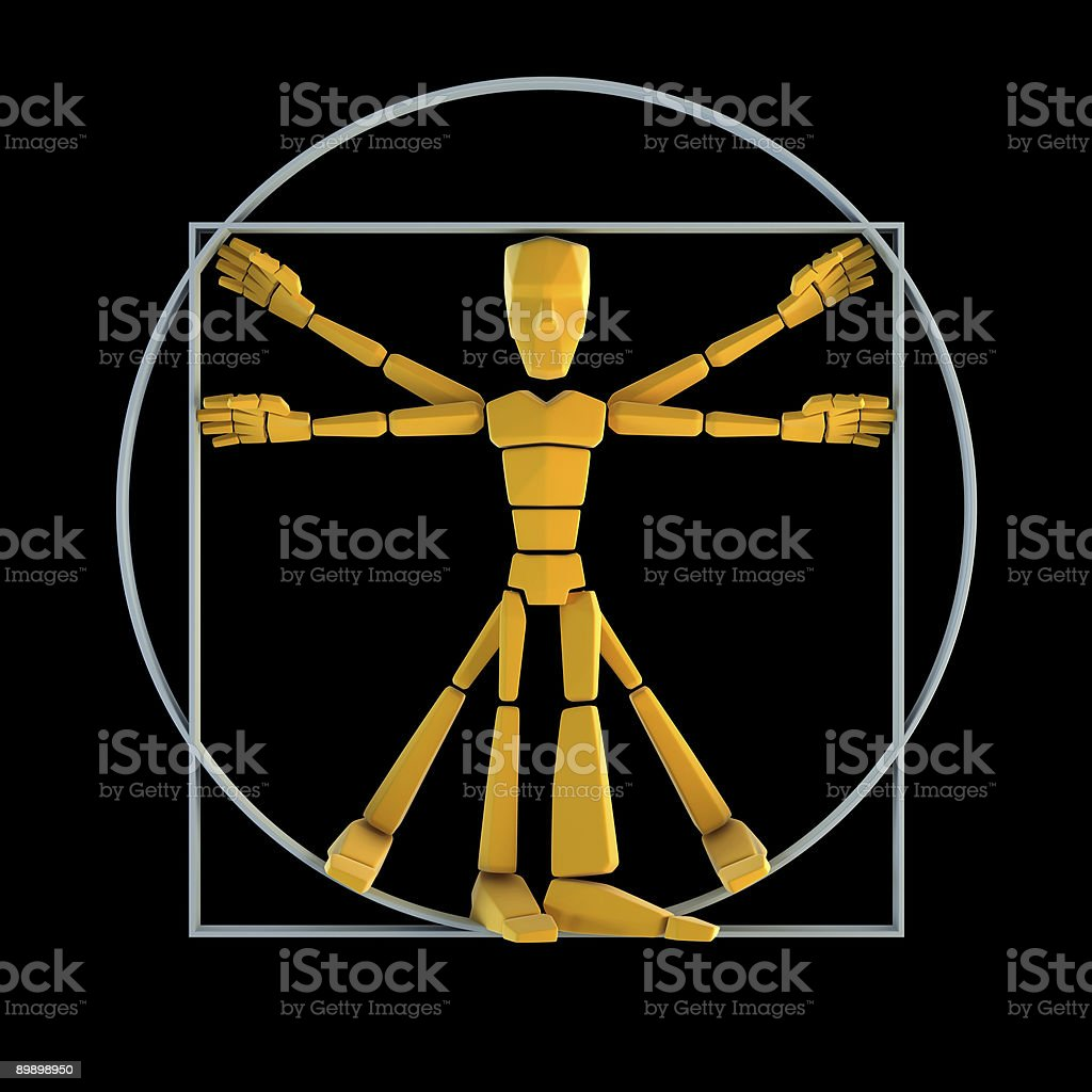 symbolic man inscribed into circle and square royalty-free stock photo