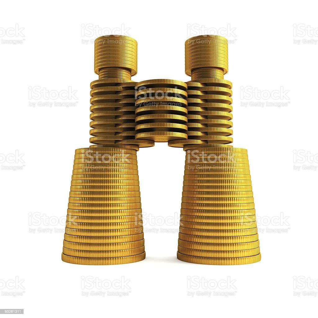 symbolic money's binoculars royalty-free stock photo