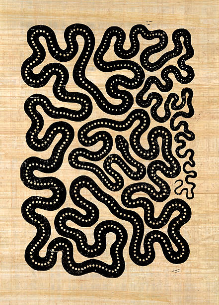 symbolic snake pattern - woodcut stock photos and pictures