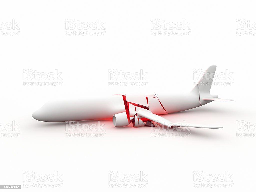 Symbolized airplane crash on white background stock photo