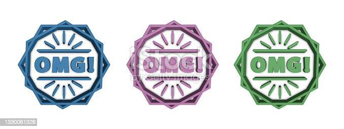 istock OMG! Symbols - 3D Illustrations - Isolated On White Background 1330061326