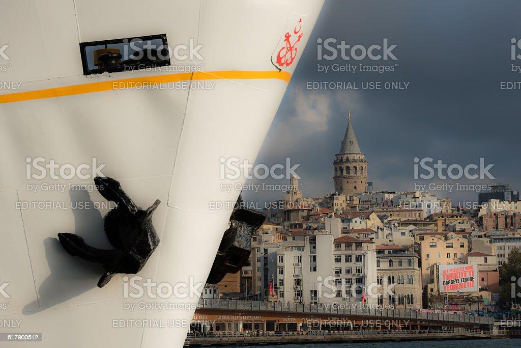 symbols of Istanbul - Vapur and Galata Tower stock photo