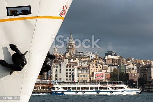 istock Symbols of Istanbul - vapur and Galata Tower 617901034