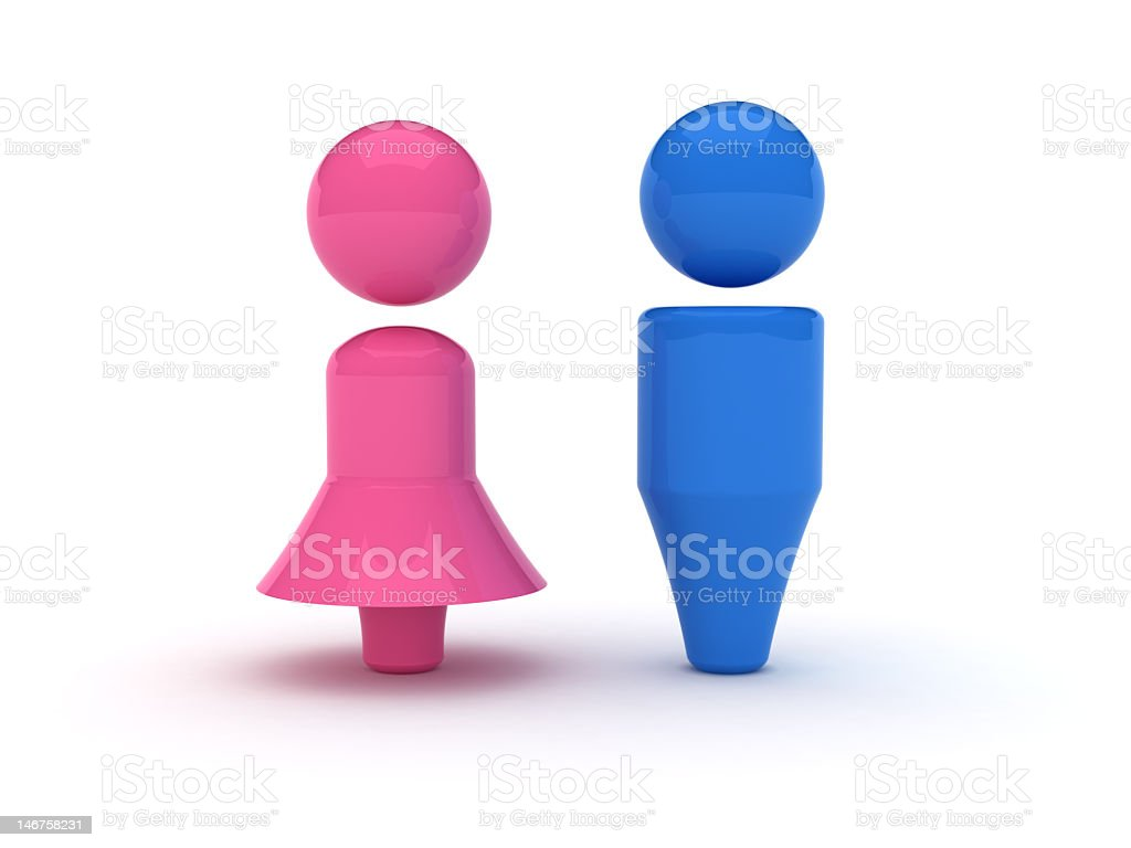 3D symbols of man and woman on white background stock photo