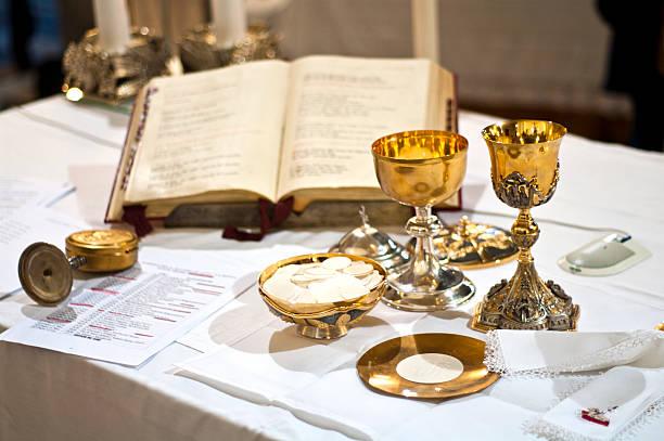 Symbols of religion : bread and wine stock photo