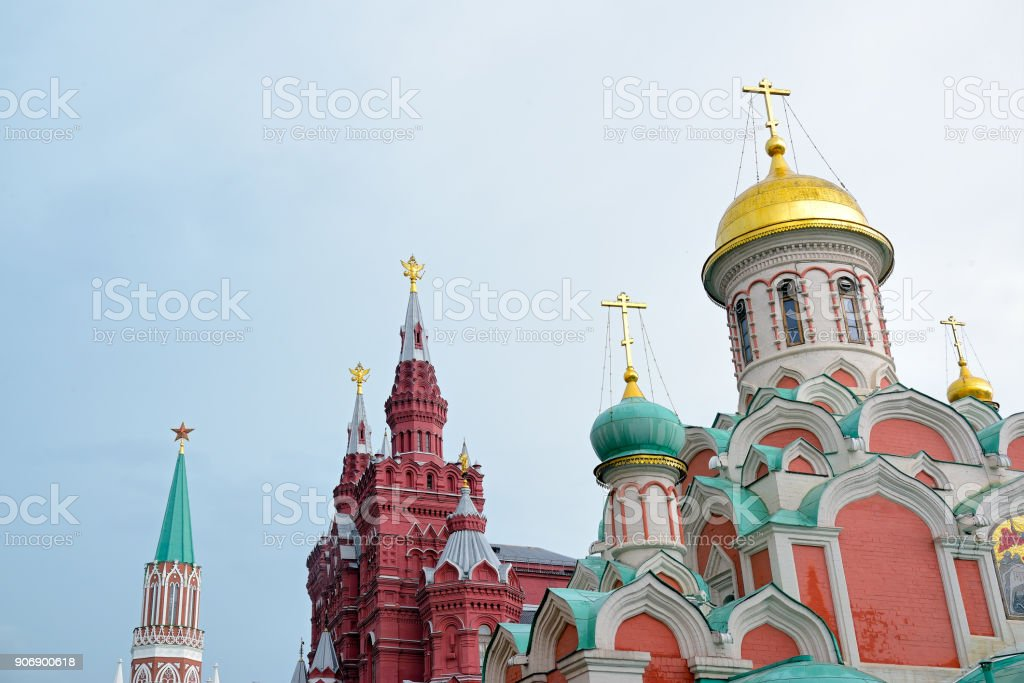 Symbols of Russia and USSR: red star, two-headed eagles, Christian crosses stock photo
