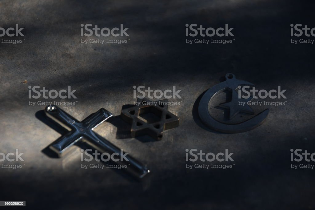 Symbols Of The Three Religions Judaism Christianity And Islam Stock