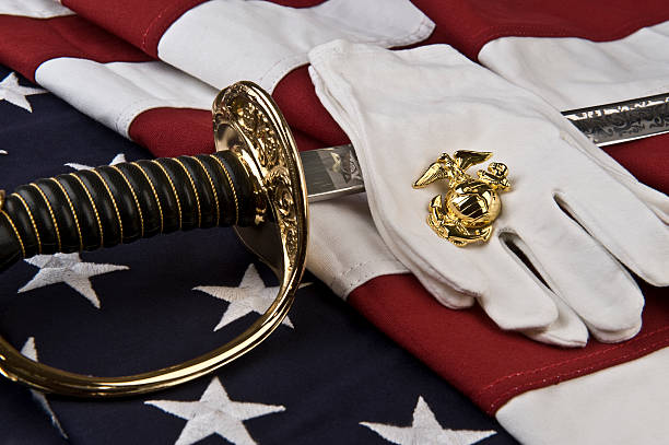 symbols of the united states marine - marines stock photos and pictures
