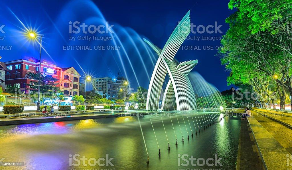 Symbols rise of a dynamic city of Saigon stock photo