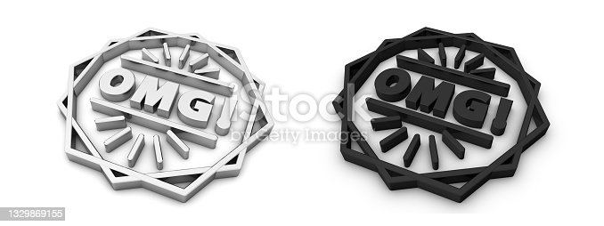 istock OMG! Symbols - Silver And Black Metallic 3D Illustrations - Isolated On White Background 1329869155