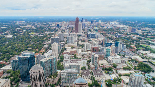 Symmetric Aerial of Atlanta Skyline stock photo
