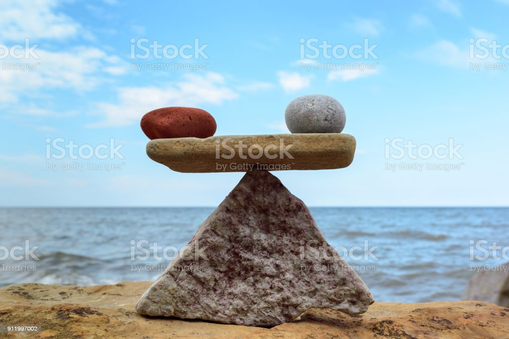 Symmetric balance of stones stock photo