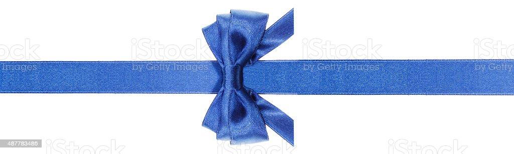 symmetric blue bow with horizontal cuts on ribbon stock photo
