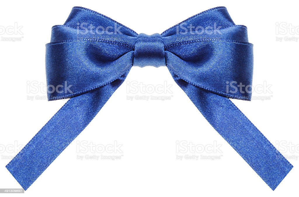 symmetric blue ribbon bow with square cut ends stock photo