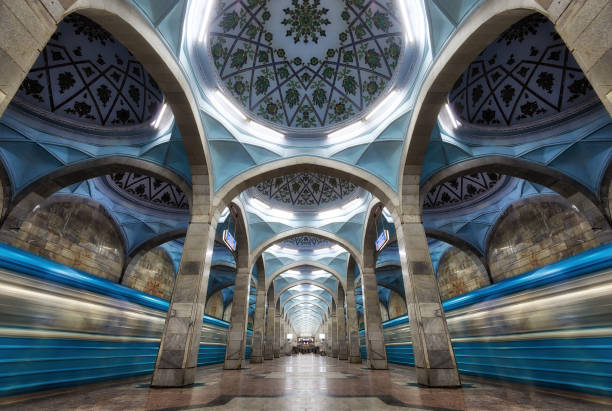 Symmetric Metro Station Architecture in Central Tashkent, Uzbekistan taken in August 2018 stock photo