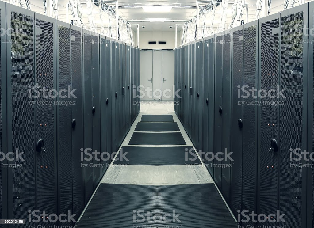 symmetric server room with modern communication and  equipment stock photo