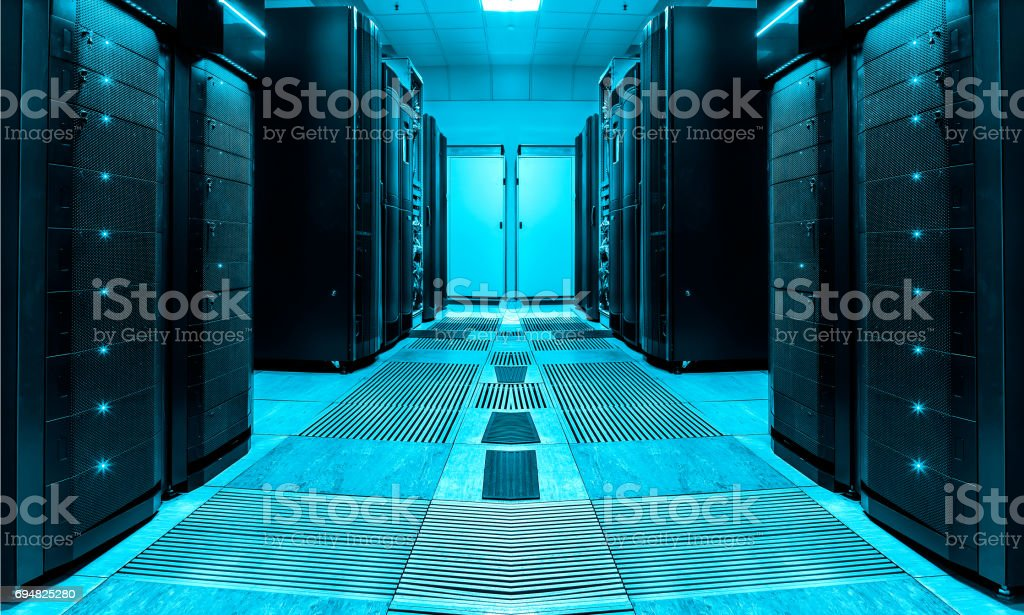 symmetric server room with rows of mainframes in modern data center, futuristic design stock photo