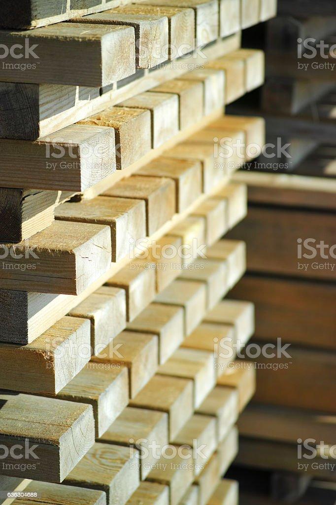 Symmetric Wooden Stacks Background stock photo
