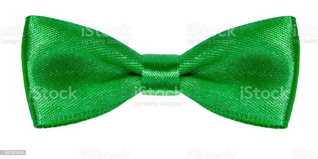 symmetrical green satin bow knot isolated stock photo