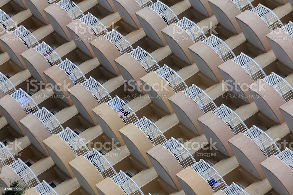 Symmetrical hotel balconies stock photo
