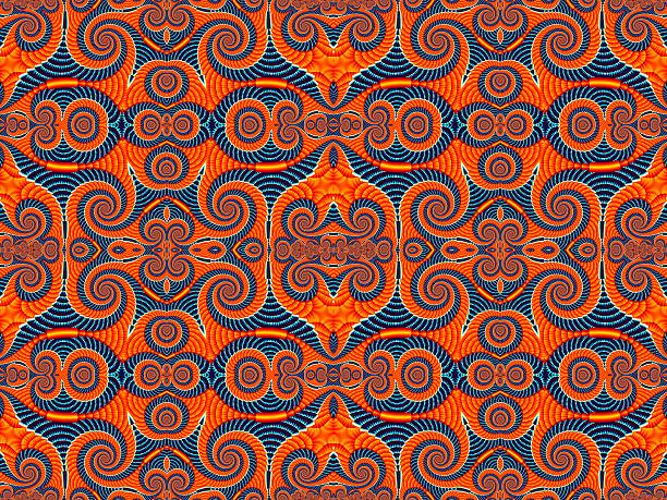 Symmetrical Pattern from Spiral fractal. Blue and orange palette stock photo
