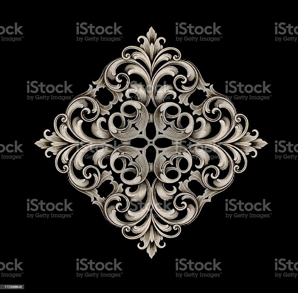 symmetrical scrollwork stock photo