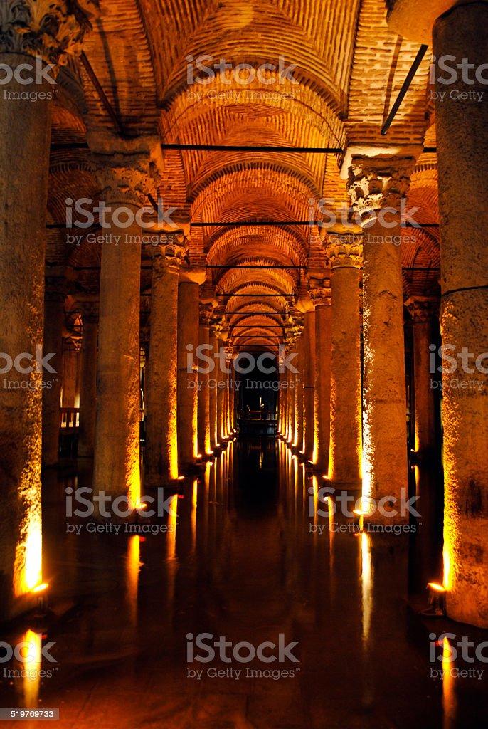 Istanbul Turkey, underground architectural columns. portrait format...