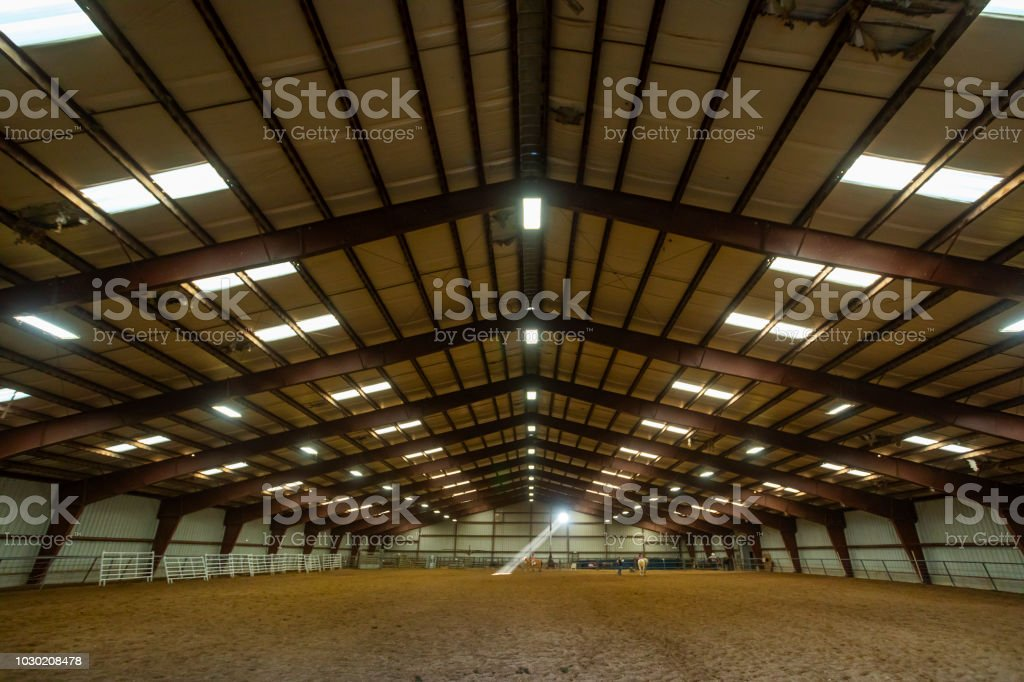 Symmetrical View of the Inside of a Farm Building, Barn or Arena