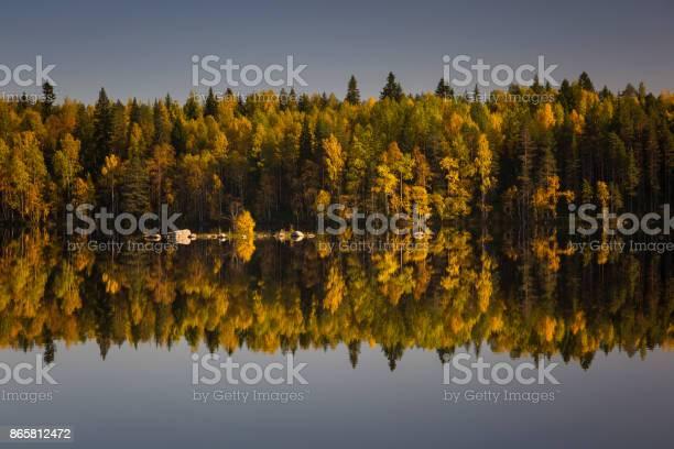 Photo of Symmetry of Autumn. Lake reflection. Karelia