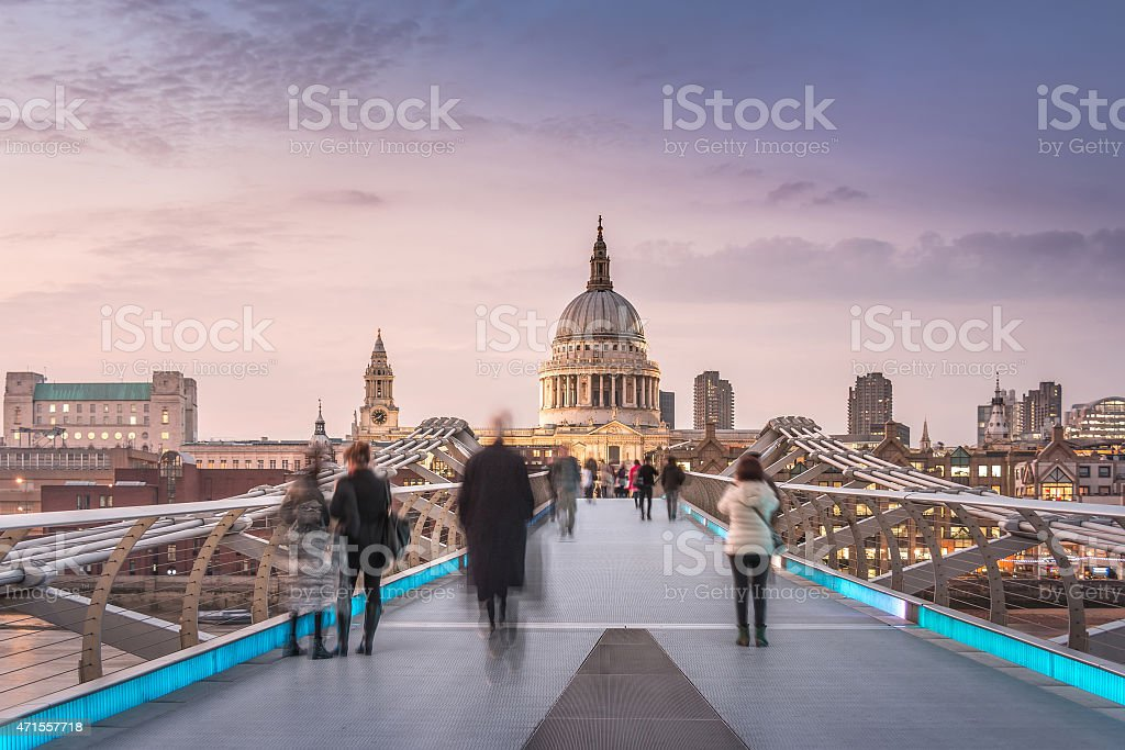 Symmetry on the Millennium Bridge to the St Paul's Cathedral stock photo