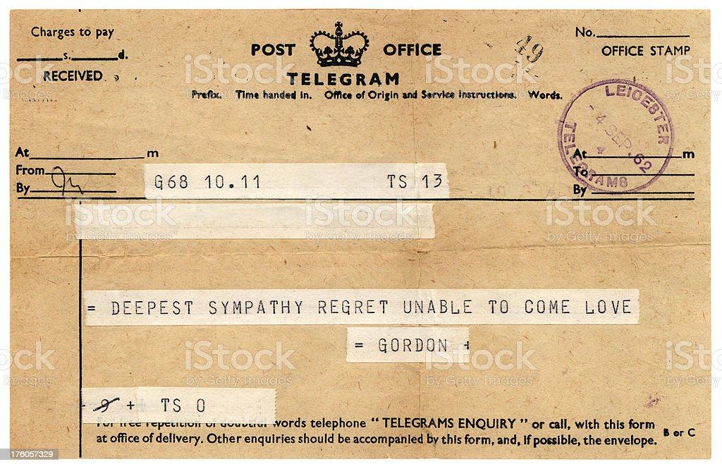 Sympathetic British telegram 1962 royalty-free stock photo