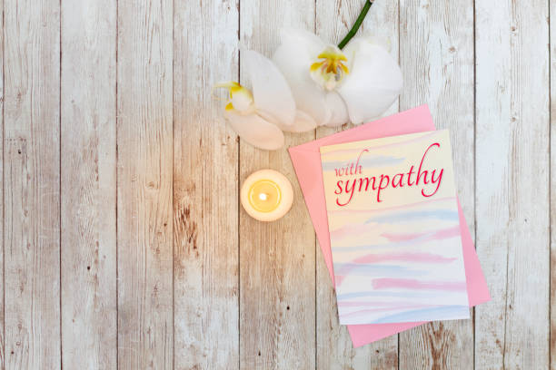 Sympathy card sent as condolence with envelope stock photo