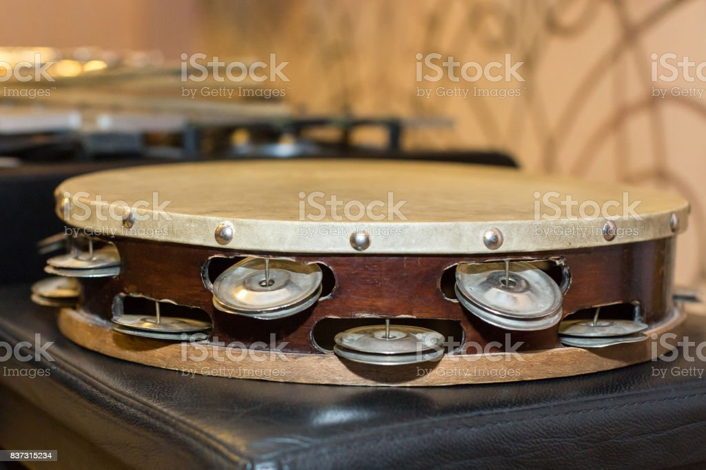 symphonic and brass bands, percussion instrument concept - beautiful closeup on orchestral tambourine, ensemble and jazz concert of classical music, turkish folk, greek, italian, samba, pop and rock stock photo