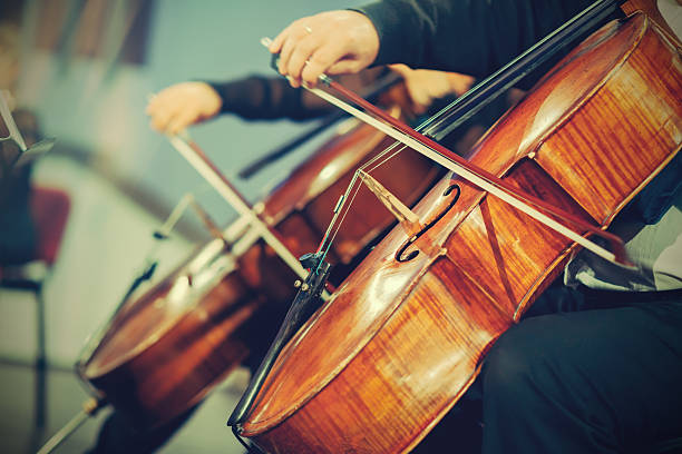 Symphony orchestra on stage, hands playing cello Symphony orchestra on stage, hands playing cello string instrument stock pictures, royalty-free photos & images