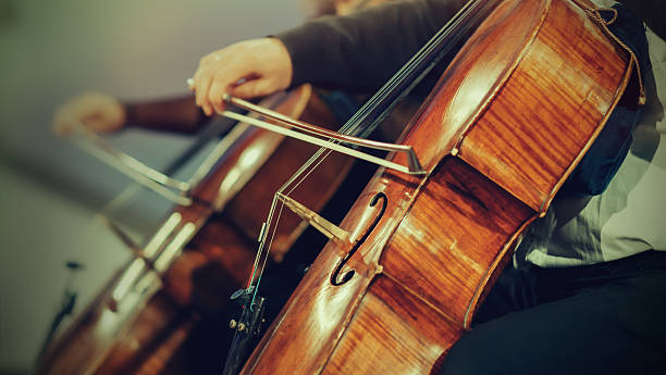 symphony orchestra on stage, hands playing cello - classical stock photos and pictures
