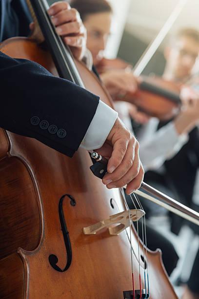 symphony orchestra performance, string section - philharmonie stock-fotos und bilder