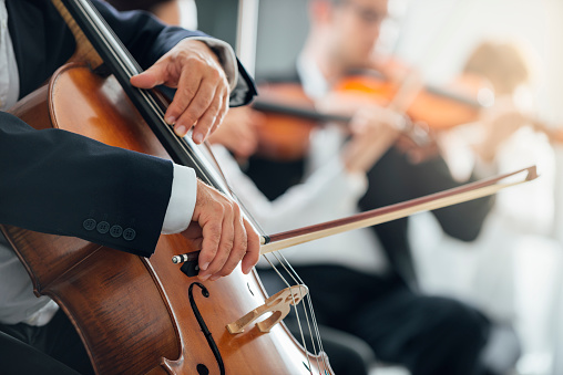 Symphony orchestra performance, string section