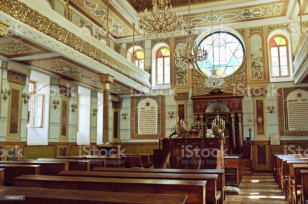 Synagogue interior stock photo