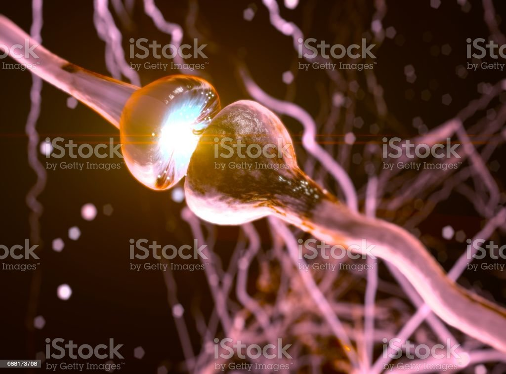 Synapse. Signals in brain. Neuron cells sending electrical chemical signals. 3D illustration stock photo