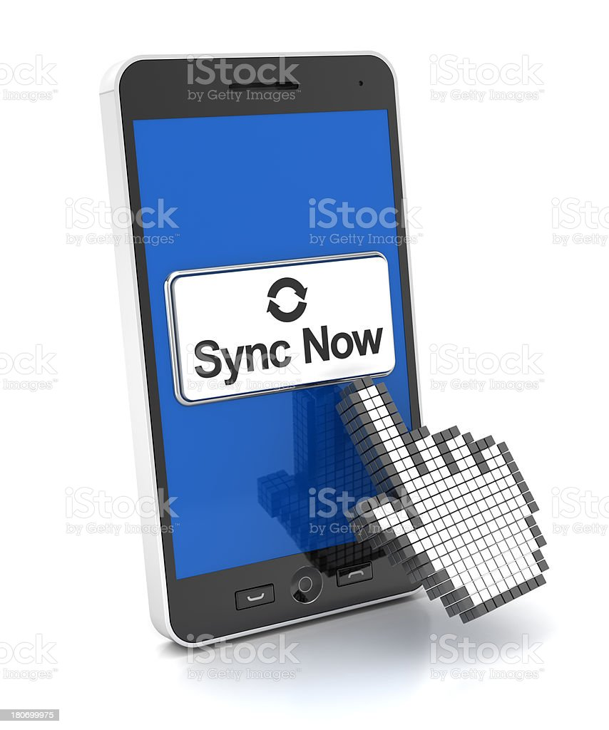 Syncing a smartphone royalty-free stock photo