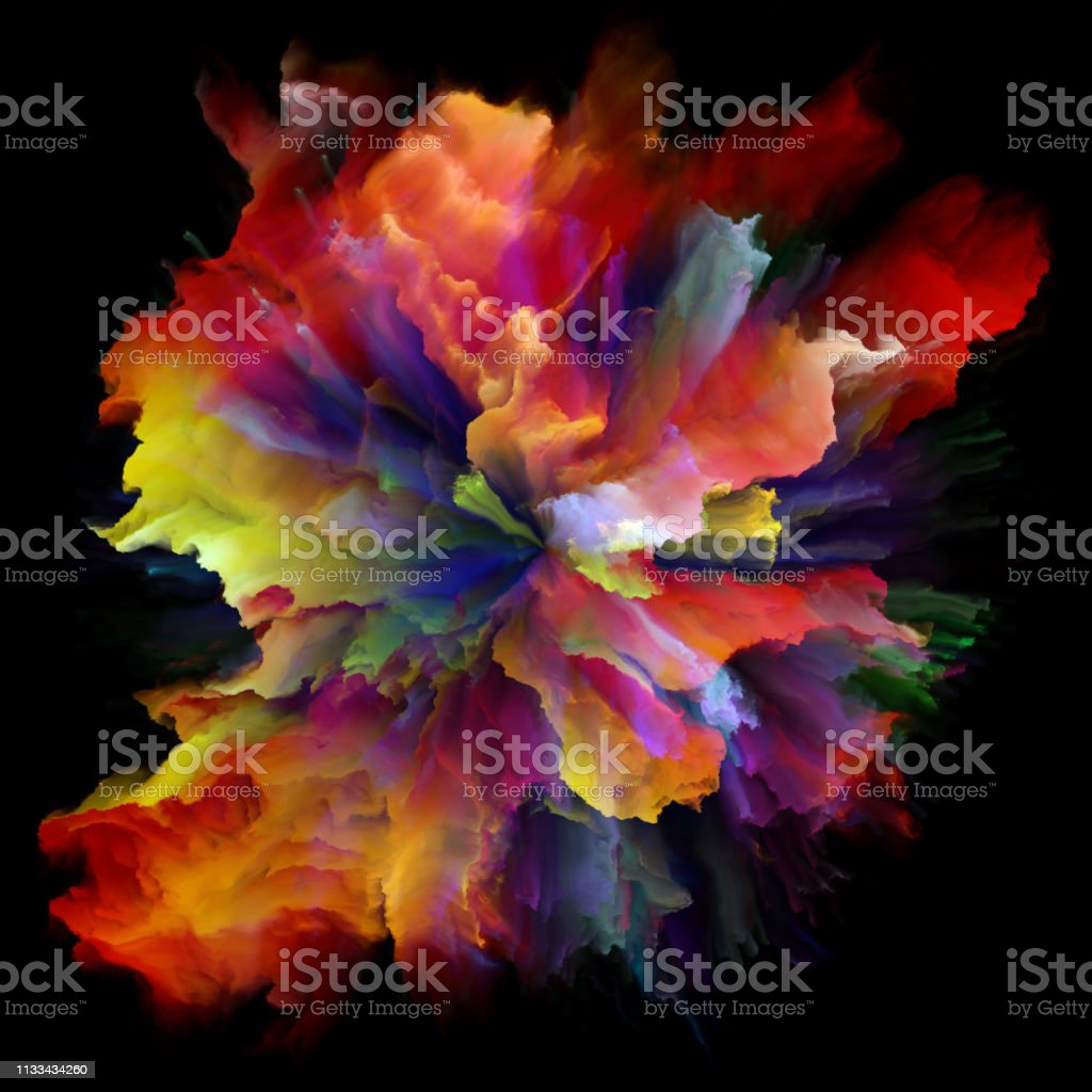 Synergies of Colorful Paint Splash Explosion stock photo