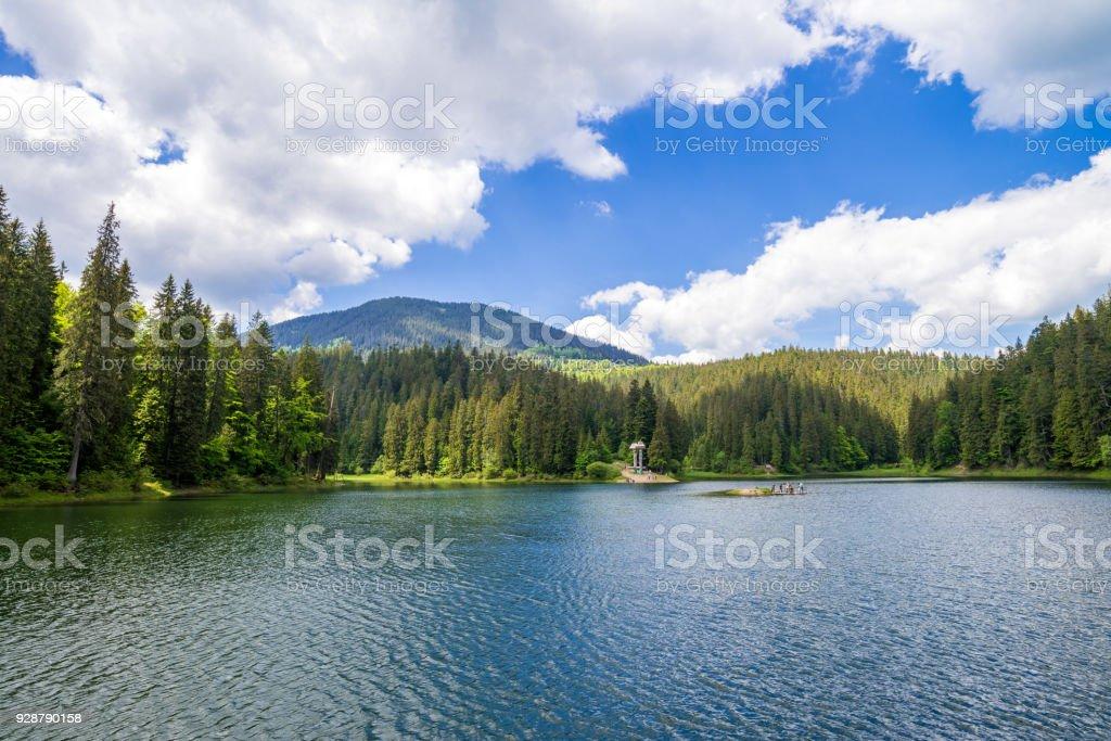 Synevir lake in Ukraine stock photo