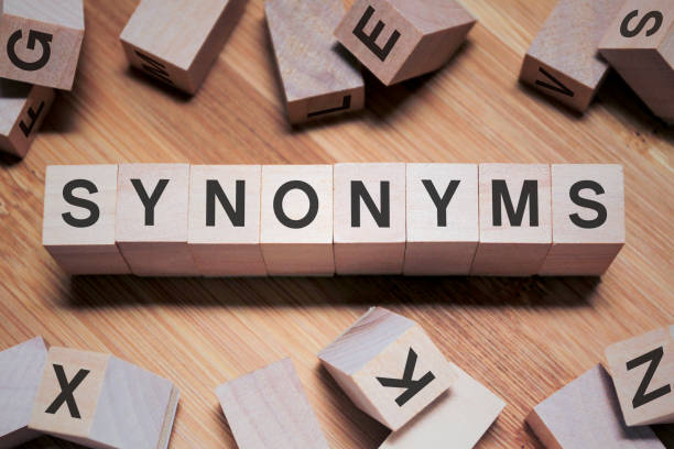 Synonyms Word In Wooden Cube stock photo