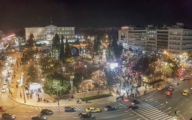 Syntagma by night in Greece during Christmas. stock photo