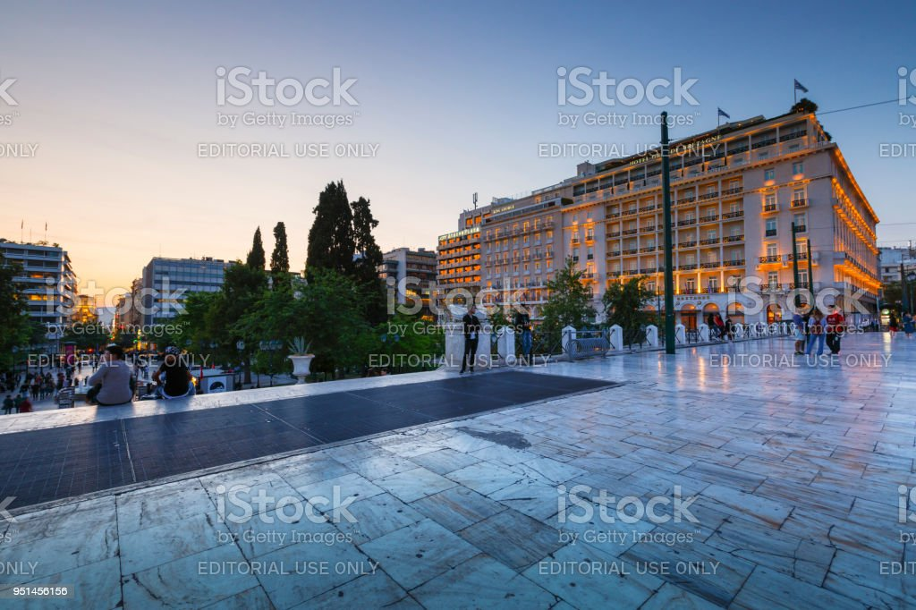 Syntagma square in Athens. stock photo
