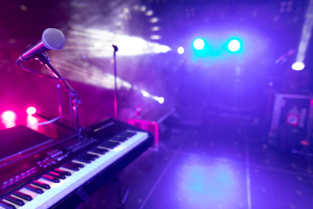 Synth major planea at the disco club stock photo