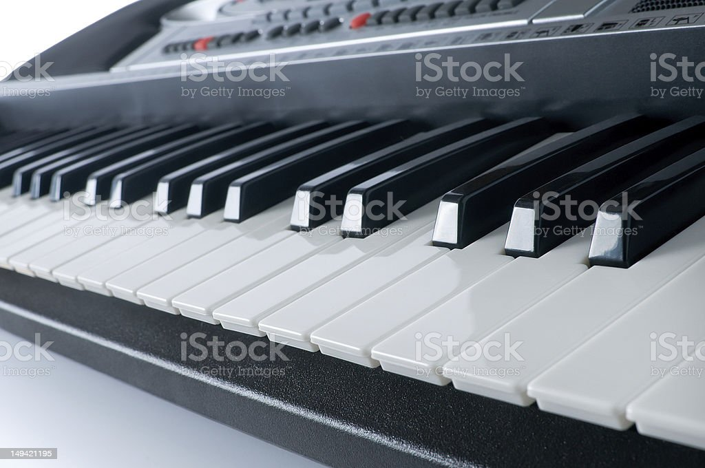 Synthesiser piano keyboard stock photo